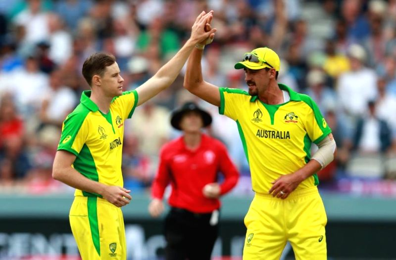 London: Australia's Jason Behrendorff and Mitchell Starc during the 32nd match of 2019 World Cup between Australia and England at Lord's Cricket Ground in London, England on June 25, 2019. (Photo Credit: Twitter/@cricketworldcup)