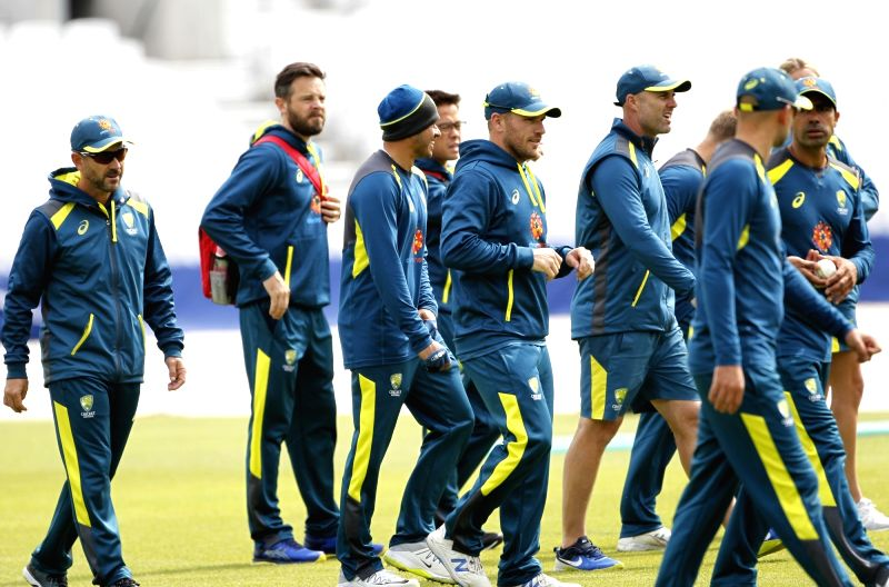 London: Australian cricketers during a practice session ahead of their 2019 ICC Cricket World Cup match against India, at the Oval in London on June 8, 2019. (Photo: Surjeet Yadav/IANS)