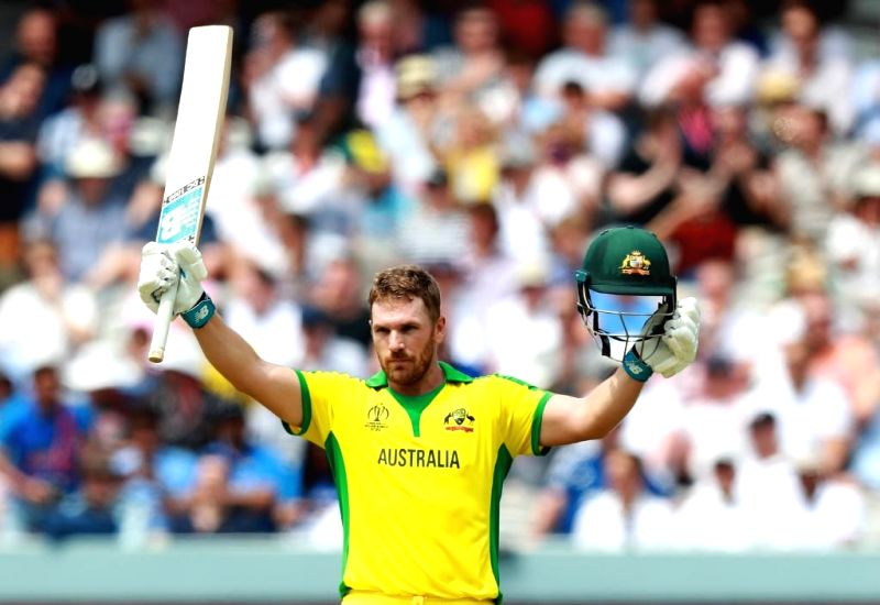 London: Australian skipper Aaron Finch celebrates his century during the 32nd match of 2019 World Cup between Australia and England at Lord's Cricket Ground in London, England on June 25, 2019. (Photo Credit: Twitter/@cricketworldcup)