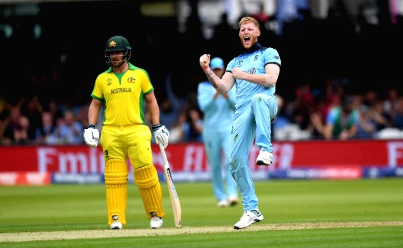 London: England's Ben Stokes celebrates fall of a wicket during the 32nd match of 2019 World Cup between Australia and England at Lord's Cricket Ground in London, England on June 25, 2019. (Photo Credit: Twitter/@cricketworldcup)