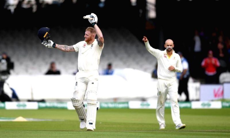 London: England's Ben Stokes celebrates his century on Day 5 of the second test match between England and Australia at Lord's in London on Aug 18, 2019. (Photo: Twitter/ICC)