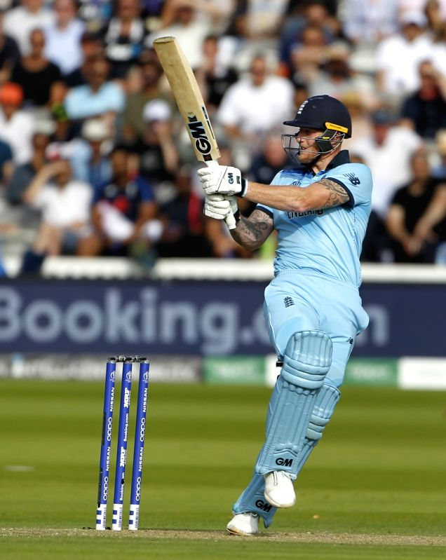 London: England's Ben Stokes in action during the final match of the 2019 World Cup between New Zealand and England at the Lord's Cricket Stadium in London, England on July 14, 2019. (Photo: Surjeet Yadav/IANS)