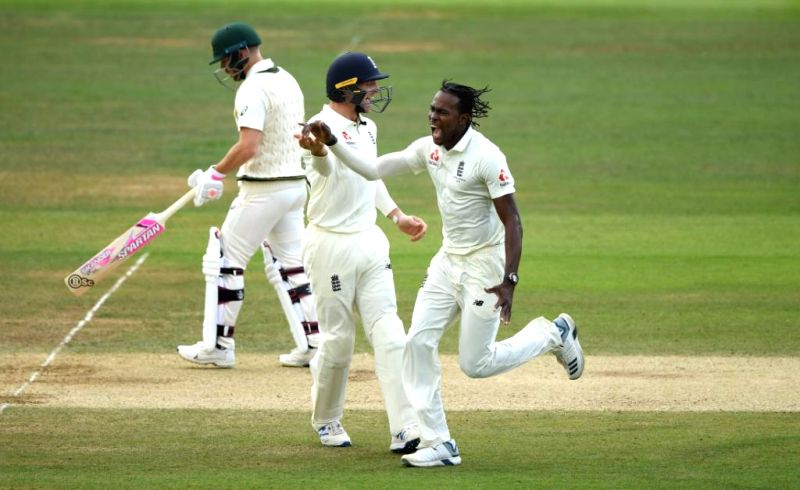 London: England's Jofra Archer celebrate fall of a wicket on Day 5 of the second test match between England and Australia at Lord's in London on Aug 18, 2019. (Photo: Twitter/ICC)