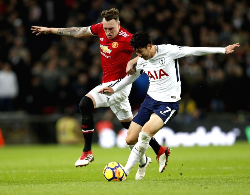 LONDON, Feb. 1, 2018 - Heung-Min Son (R) of Tottenham Hotspur vies for the ball during the English Premier League football match between Tottenham Hotspur and Manchester United at the Wembley Stadium ...