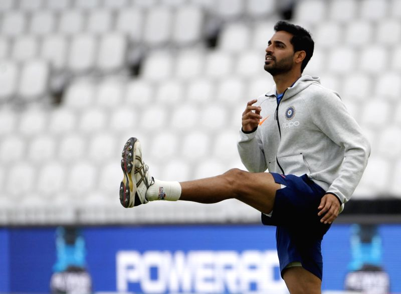 London: India's Bhuvneshwar Kumar during a practice session ahead of 2019 ICC Cricket World Cup match against Australia, at the Oval in London on June 8, 2019. (Photo: Surjeet Yadav/IANS)