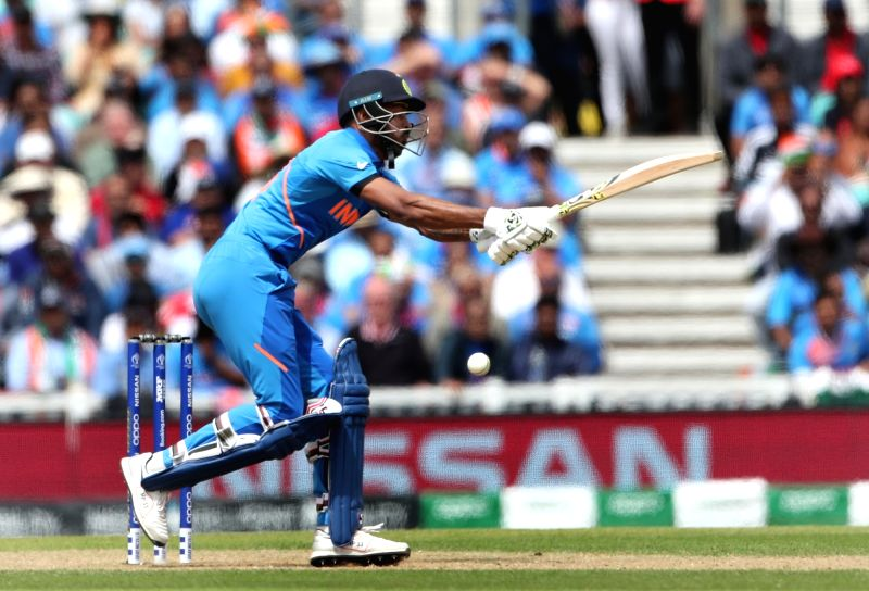 London: India's Hardik Pandya in action during the 14th match of 2019 World Cup between India and Australia at Kennington Oval in London on June 9, 2019. (Photo: Surjeet Yadav/IANS)