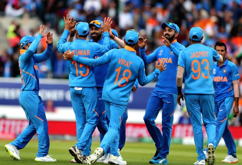 London: India's Yuzvendra Chahal celebrates fall of David Warner's wicket during the 14th match of 2019 World Cup between India and Australia at Kennington Oval in London on June 9, 2019. (Photo: Surjeet Yadav/IANS)