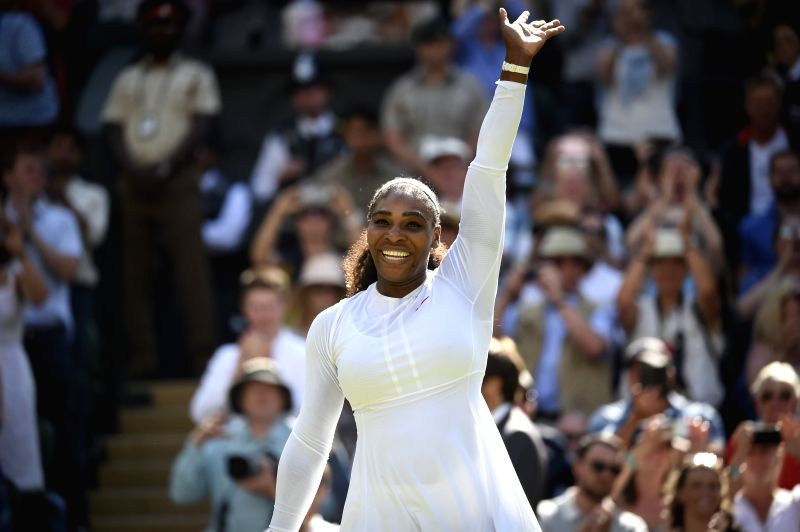 LONDON, July 11, 2018 - Serena Williams of the United States greets the audiences after the women's singles quarterfinal match against Camila Giorgi of Italy at the Wimbledon Championships 2018 in ...