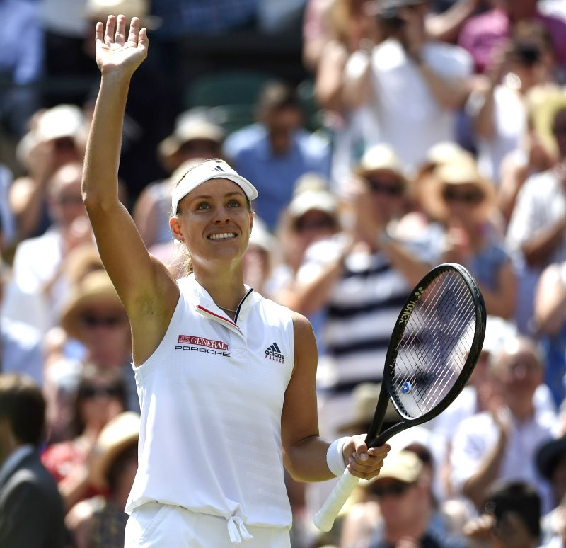LONDON, July 12, 2018 - Angelique Kerber of Germany celebrates victory after the ladies' singles semi-final match against Jelena Ostapenko of Latvia at the Wimbledon Championships 2018 in London, ...