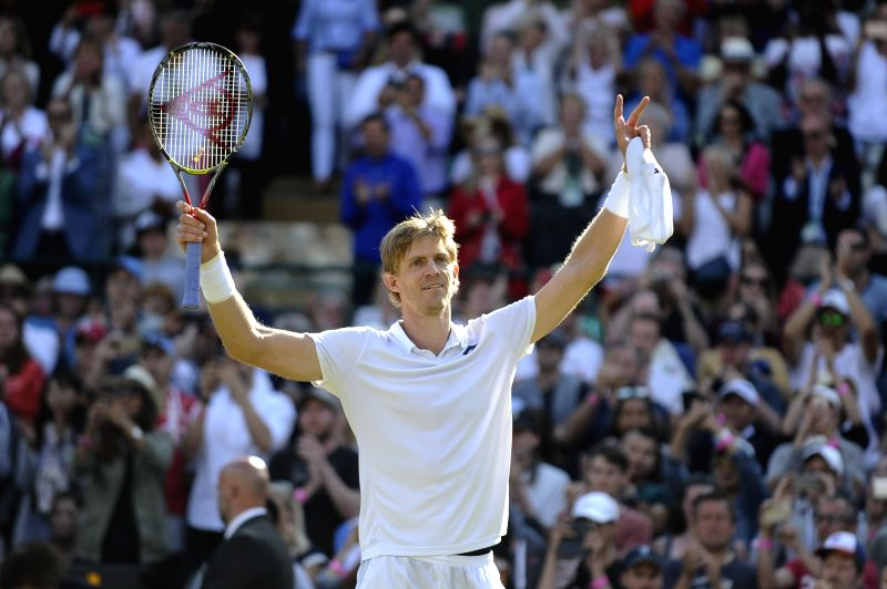 LONDON, July 12, 2018 - Kevin Anderson of South Africa celebrates victory after the men's singles quarterfinal match against Roger Federer of Switzerland at the Wimbledon Championships 2018 in ...