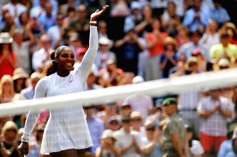 LONDON, July 13, 2018 - Serena Williams of the United States celebrates victory after the women's singles semifinal match against Julia Goerges of Germany at the Championship Wimbledon 2018 in ...