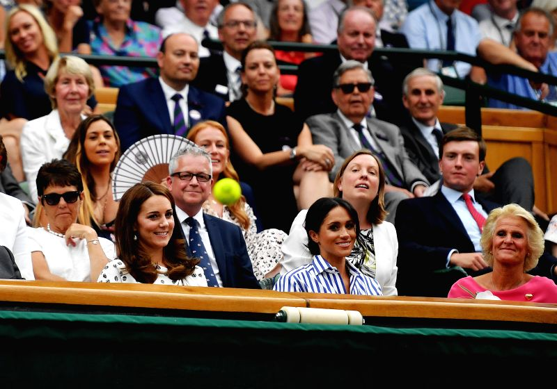 LONDON, July 14, 2018 - Britain's Princess Kate  (1st L, front) is seen during the men's singles semi-final match between Novak Djokovic of Serbia and Rafael Nadal of Spain at the Wimbledon ...
