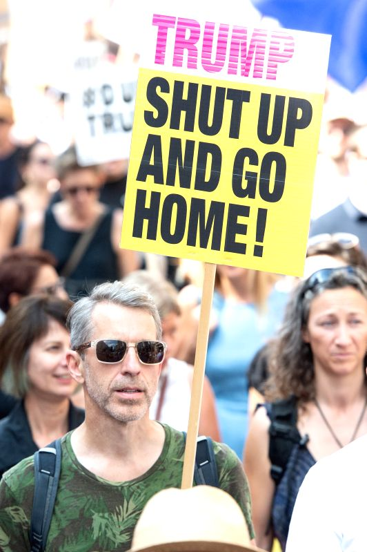 LONDON, July 14, 2018 - Demonstrators take part in the anti-Trump protests in London, Britain, July 13, 2018. Tens of thousands of people gathered in central London Friday to protest about U.S. ...