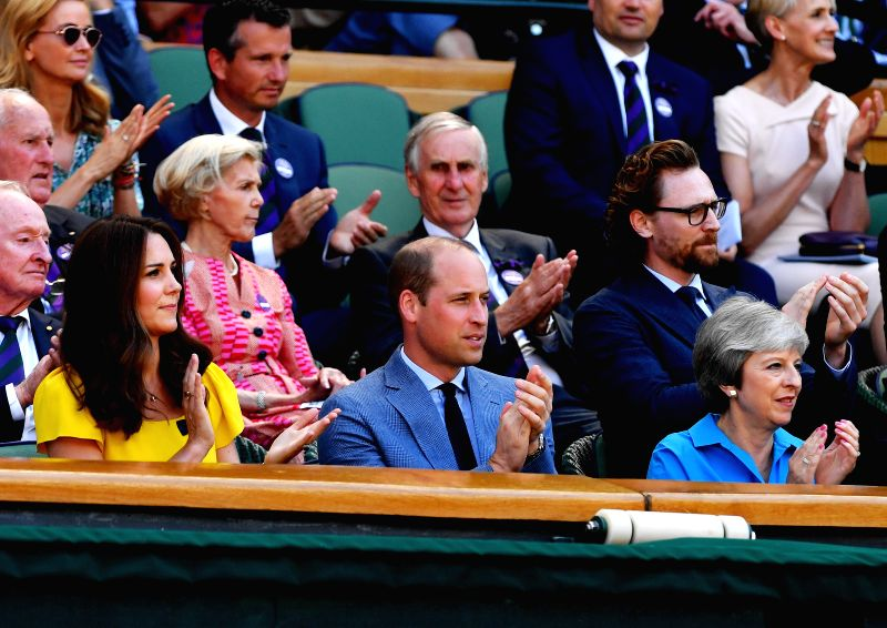 LONDON, July 15, 2018 - British Prime Minister Theresa May (Front, R), Prince William (Front, C), Duke of Cambridge, and his wife Catherine(Front, L), Duchess of Cambridge, are seen during the men's ... - Theresa May