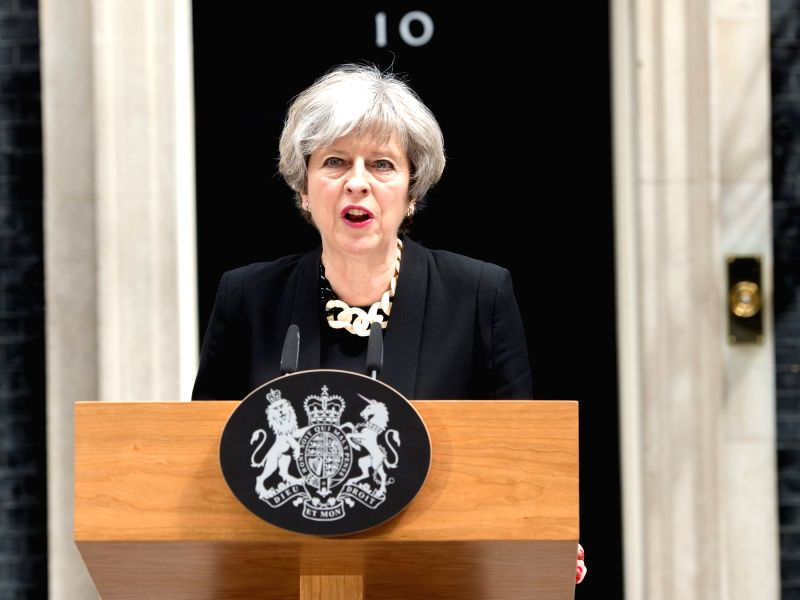 LONDON, June 4, 2017 - British Prime Minister Theresa May delivers a speech in response to the terror attacks on London Bridge and at Borough Market in London, Britain on June 4, 2017. - Theresa May