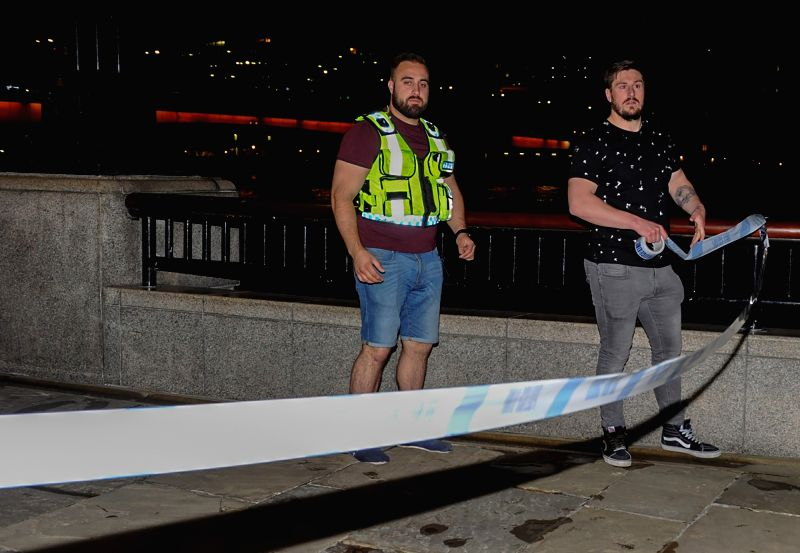 LONDON, June 4, 2017 - London Bridge is blocked off after a terror attack in London, Britain on June 4, 2017. Unidentified attackers drove a van into pedestrians on London Bridge Saturday night and ...