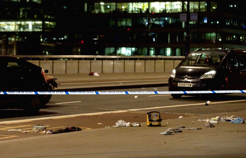 LONDON, June 4, 2017 - Photo taken on June 4, 2017 shows pieces of medical equipment and possible people's belongings left on London Bridge after the terror attack in London, Britain. Unidentified ...
