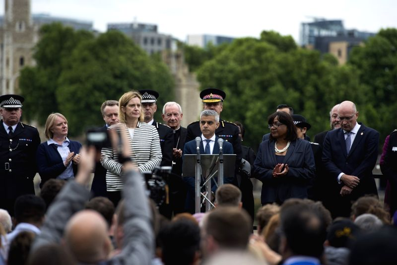 LONDON, June 5, 2017 - London Mayor Sadiq Khan (C) attends a mourning for the victims of the London Bridge attack in London, Britain, on June 5, 2017. The London Bridge attack occured on Saturday ... - Mayor Sadiq Khan