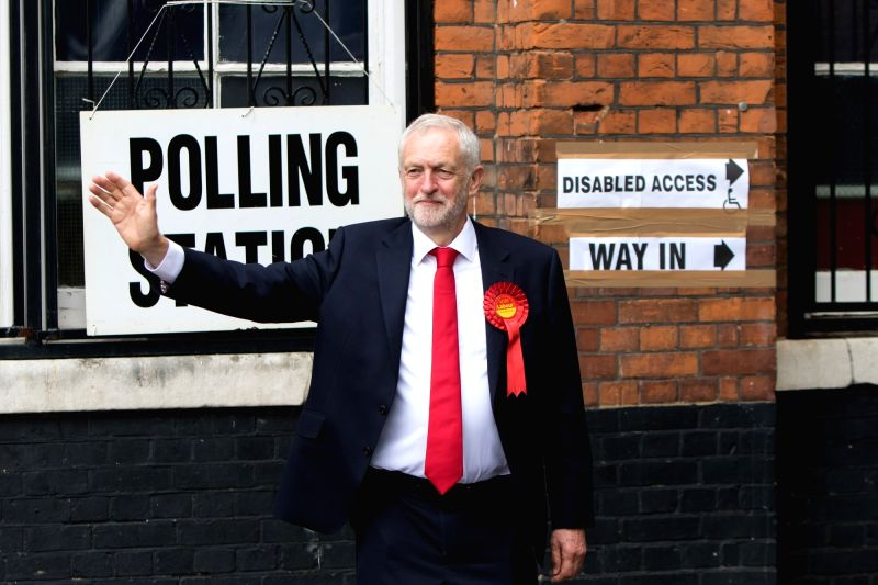 LONDON, June 8, 2017 - er of Britain's main opposition Labour Party Jeremy Corbyn gestures in front of a polling station in London, Britain on June 8, 2017.