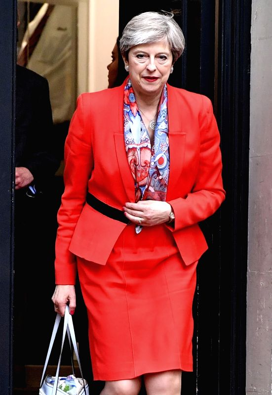 LONDON, June 9, 2017 - British Prime Minister Theresa May leaves Conservative Central Office in central London, Britain on June 9, 2017. Britain will have a hung parliament, with no party winning ... - Theresa May