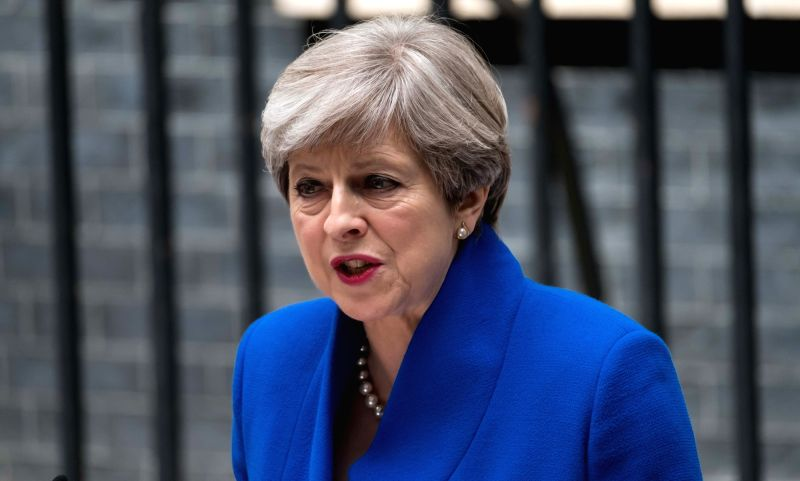 LONDON, June 9, 2017 - British Prime Minister Theresa May gives a speech at 10 Downing Street after meeting with the Queen in London, Britain on June 9, 2017. British Prime Minister Theresa May ... - Theresa May