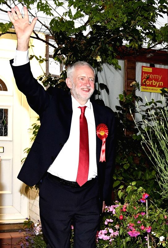 LONDON, June 9, 2017 - Labour Party leader Jeremy Corbyn leaves his home for the count center in Islington, London, Britain on June 9, 2017. Britain will have a hung parliament, with no party winning ...