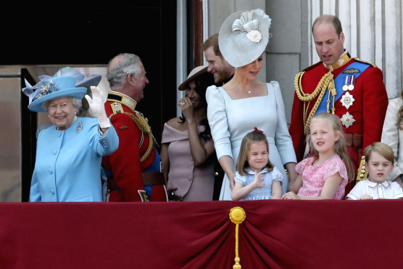 LONDON, June 9, 2018 - Britain's Queen Elizabeth II (1st L) waves on the balcony of Buckingham Palace during the Trooping the Colour ceremony to mark Queen Elizabeth II's 92nd birthday in London, ...