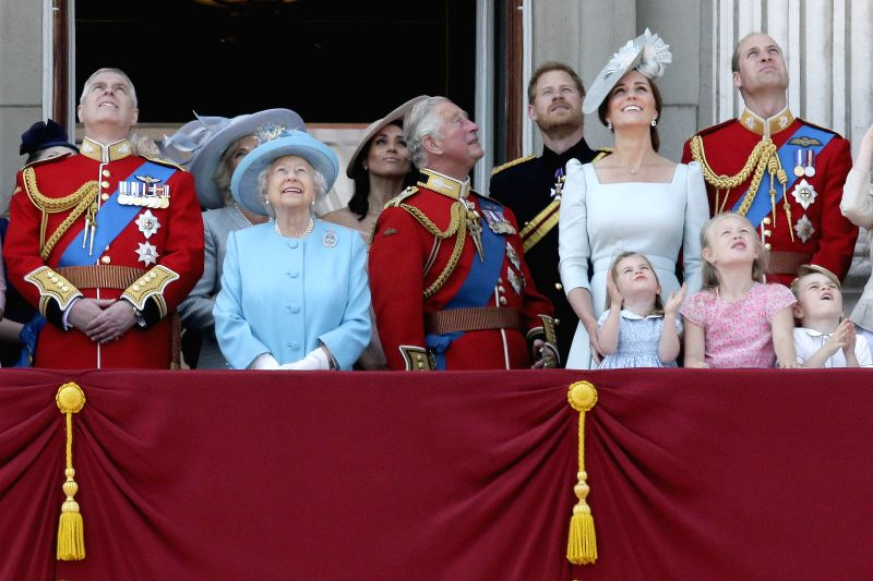 LONDON, June 9, 2018 - Members of the Royal Family watch the Red Arrows with Britain's Queen Elizabeth II on the balcony of Buckingham Palace during the Trooping the Colour ceremony to mark Queen ...
