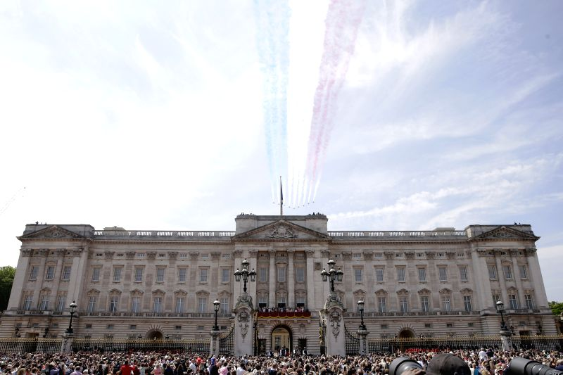 LONDON, June 9, 2018 - The Red Arrows fly over Buckingham Palace during the Trooping the Colour ceremony to mark Queen Elizabeth II's 92nd birthday in London, Britain on June 9, 2018.