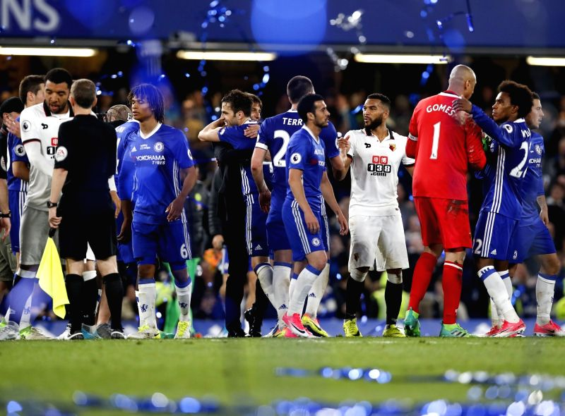 LONDON, May 16, 2017 - Players of Chelsea celebrate after the English Premier League match between Chelsea and Watford at the Stamford Bridge Stadium in London, Britain on May 15, 2017. Chelsea won ...