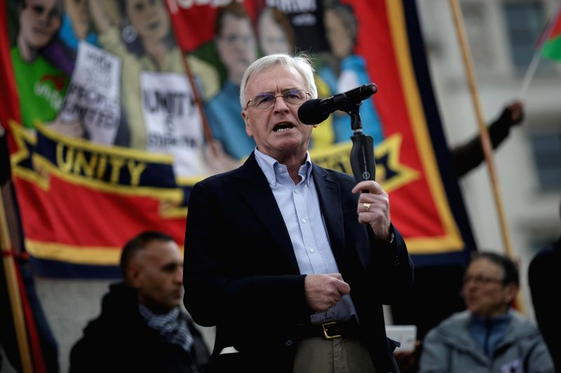 LONDON, May 2, 2017 - Britain's shadow chancellor of the exchequer John McDonnell addresses a May Day rally at the Trafalgar Square in London May 1, 2017. John McDonnell led the May Day rally Monday, ...
