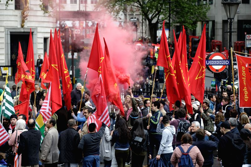 LONDON, May 2, 2017 - Demonstrators attend a May Day rally at the Trafalgar Square in London, Britain, on May 1, 2017. Britain's shadow chancellor of the exchequer John McDonnell led the May Day ...