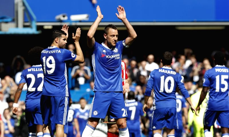 LONDON, May 22, 2017 - Chelsea's Captain John Terry greets the supporters after he is substituted during the English Premier League match between Chelsea and Sunderland at the Stamford Bridge Stadium ... - John Terry