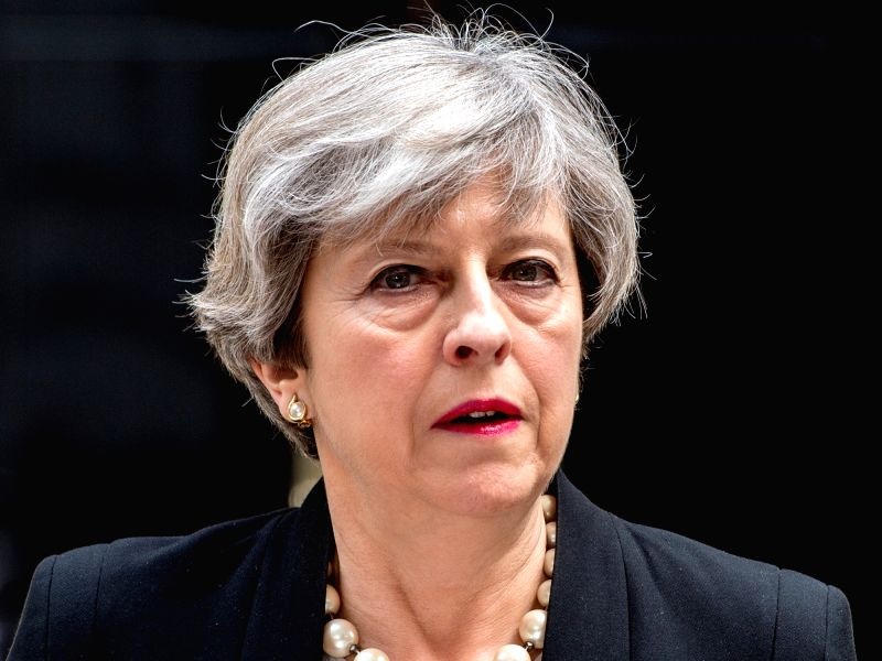 LONDON, May 23, 2017 - Britain's Prime Minister Theresa May addresses the media in Downing Street after chairing a meeting of Britain's emergency security committee following the Manchester terror ... - Theresa May