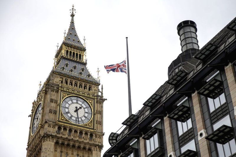 LONDON, May 23, 2017 - Flag flies at half mast above Portcullis House next to the Houses of Parliament after Manchester Arena bombing, in London, Britain, on May 23, 2017.