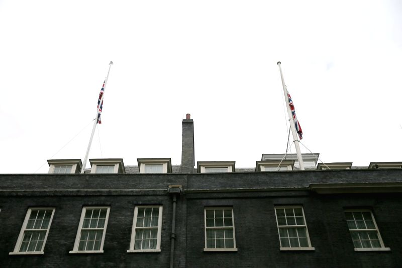 LONDON, May 23, 2017 - Flags fly at half mast above Downing Street after Manchester Arena bombing, in London, Britain, on May 23, 2017.
