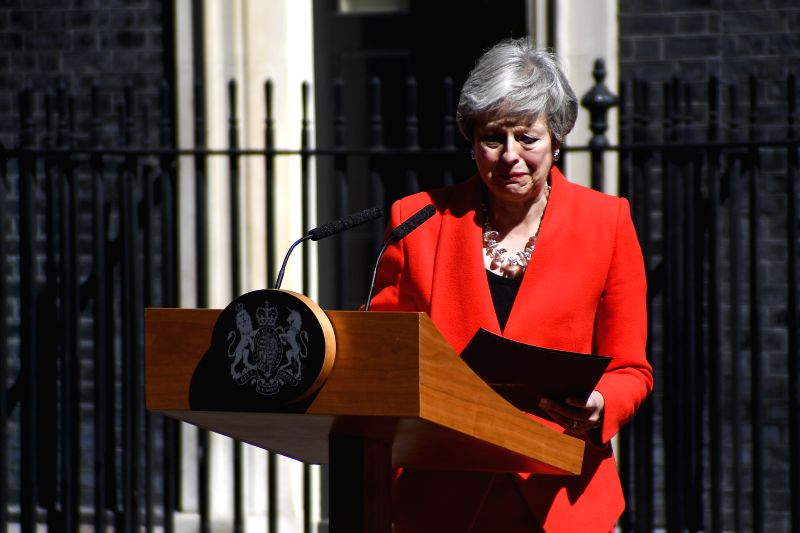 LONDON, May 24, 2019 (Xinhua) -- British Prime Minister Theresa May speaks to the media outside 10 Downing Street in London, Britain on May 24, 2019. Theresa May said on Friday that she will quit as Conservative leader on June 7, paving ways for cont