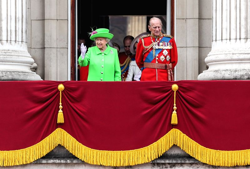 LONDON, May 4, 2017 - British Queen Elizabeth II (L) and Prince Philip the Duke of Edinburgh view the fly-past on the balcony of Buckingham Palace during the Queen's 90th birthday celebrations in ...