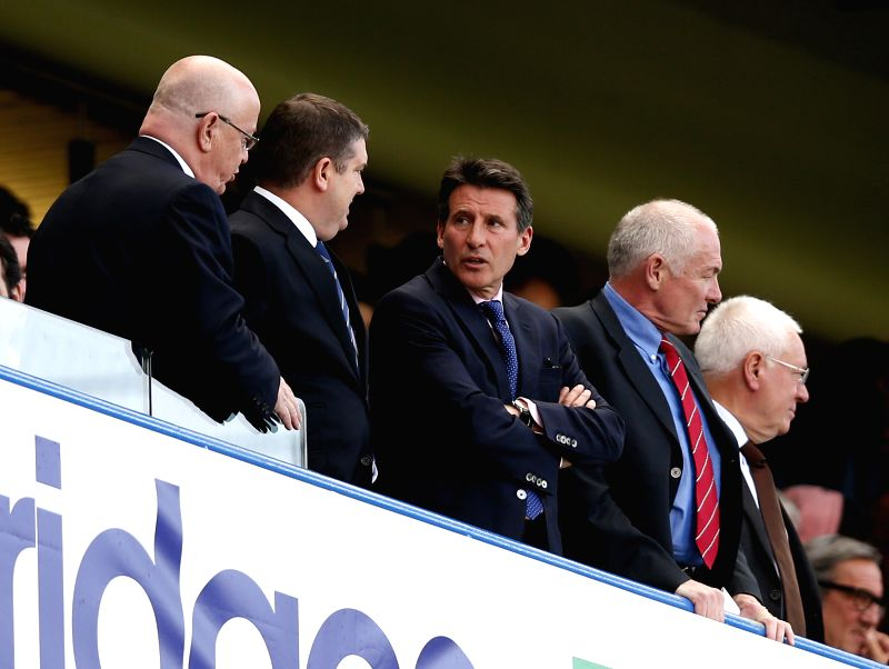 Sebastian Coe (C), chairman of the British Olympic Association looks on during the Barclays Premier League match between Chelsea and Norwich at Stamford Bridge Stadium