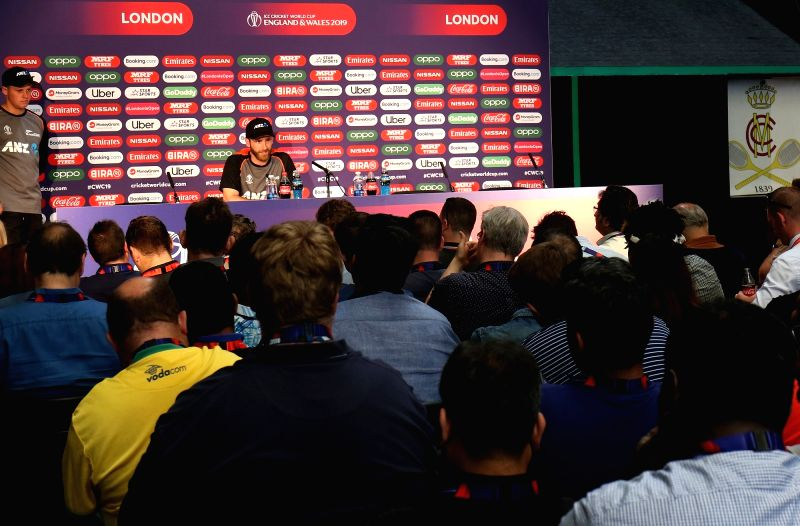 London: New Zealand captain Kane Williamson addresses a press conference ahead of the final match of World Cup 2019 against England at Lord's cricket ground in London, on July 13, 2019. (Photo: Surjeet Kumar/IANS)