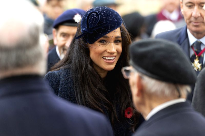 LONDON, Nov. 7, 2019 (Xinhua) -- Meghan Markle (C), Duchess of Sussex, attends the 91st Field of Remembrance at Westminster Abbey in London, Britain, on Nov. 7, 2019. The Field of Remembrance has been held in the Abbey's grounds since 1928. This year
