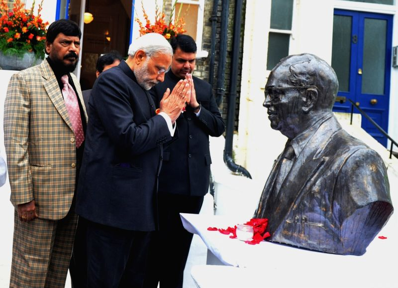 : London: Prime Minister Narendra Modi  and Maharashtra Devendra Fadnavis at Dr. Bhimrao Ramji Ambedkar Memorial, in London on Nov 14, 2015. Also seen RPI president Ramdas Athawale. (Photo: ... - Narendra Modi