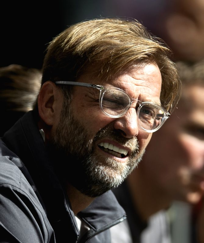 LONDON, Sept. 16, 2018 - Liverpool's manager Jurgen Klopp reacts to the English Premier League match between Tottenham Hotspur and Liverpool at the Wembley Stadium in London, Britain on Sept. 15, ...