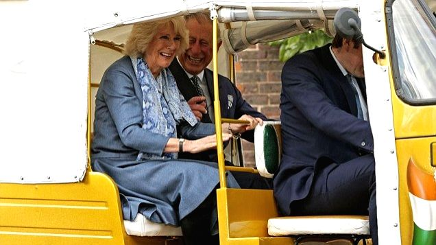 London (UK): Prince of Wales Charles and Duchess of Cornwall Camilla enjoy an auto-rickshaw ride in London, UK.