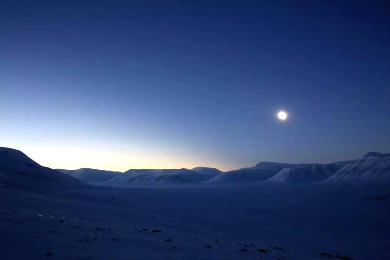 Photo taken on March 20, 2015 shows the view during full solar eclipse in Longyearbyen, Norway.