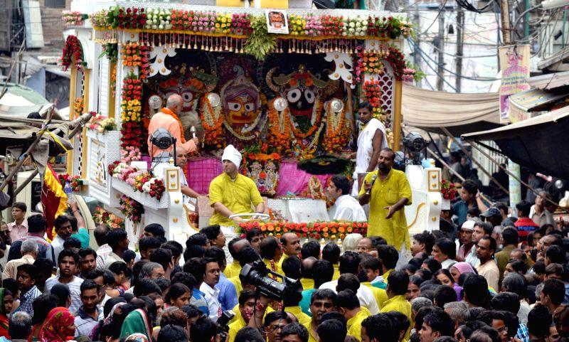 Lord Jagannath Rath Yatra in Agra on Aug. 30, 2014.