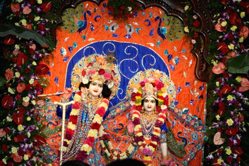 Lord Krishna Janmashtami celebration at ISCON temple in Hyderabad on August 28, 2013.