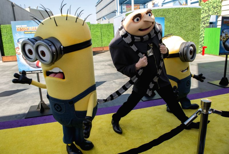 """Gru and his Minion attends the premiere of new 3D ultra HD digital animation adventure  """"Despicable Me Minion Mayhem"""" at Universal Studios Hollywood ."""