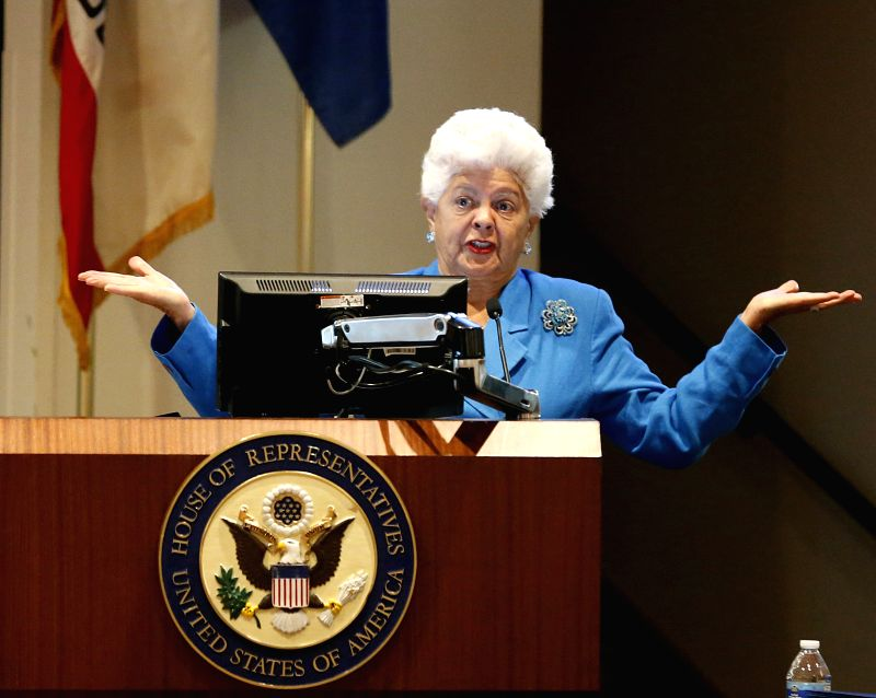 LOS ANGELES, Aug. 3, 2018 - Democratic Congresswoman Grace Napolitano gives a speech at the Export and Trade Round Table conference in Duarte City, Los Angeles County, the United States, Aug. 2, ...