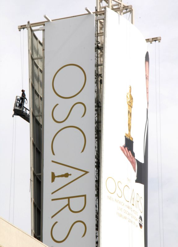 Los Angeles (California): Oscars billboard erected in Hollywood Dolby Theatre entrance. The 87th Academy Awards ceremony will be held at the Dolby Theatre in Hollywood on February 22.